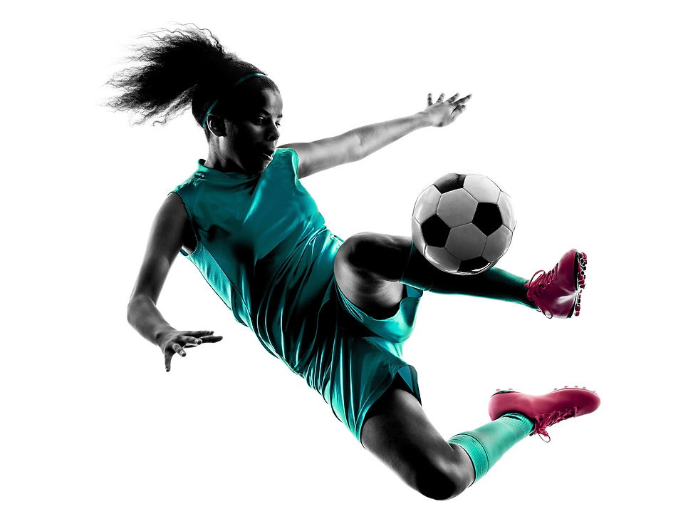 teenager girl soccer player isolated sil