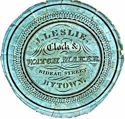 J. Leslie Clock Watch Maker Rideau Street Bytown Paper Label