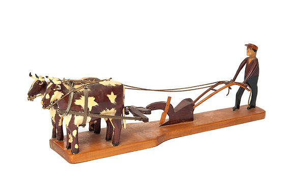 Carving of oxen with driver by Odessa Belisle, St. Antoine, Quebec, pine, circa 1965.