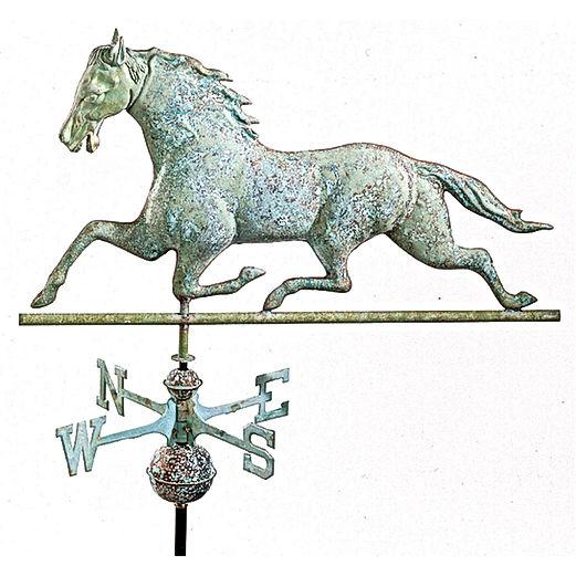 Antique Running Horse Metal Copper Weather Vane