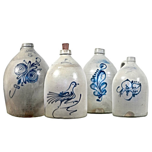 Stoneware Crocks Cobalt blue decorations of butterflies, birds, plants, leaves, flowers in two, three, five gallon stoneware sizes.