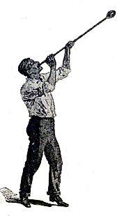Glassblower blowing through blowpipe, original logo of Bytown Bottle Seekers' Club