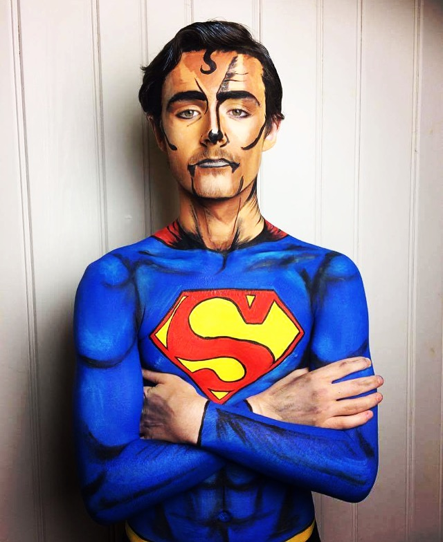 Superman face & body art