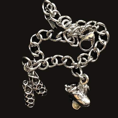 Irish Step Dance Shoes (Ghillies) and Hard Shoes Charm Bracelet
