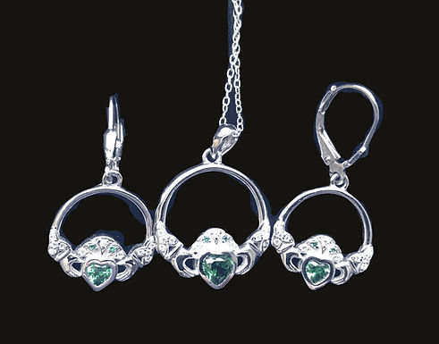 Silver Claddagh Earrings and Necklace Featuring Trinity Cuffs