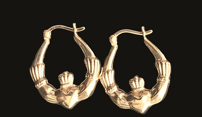 14K Gold Claddagh Hoop Earrings