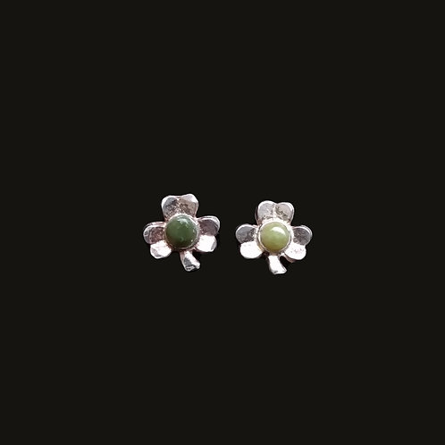 Shamrock Earrings with Connemara Marble