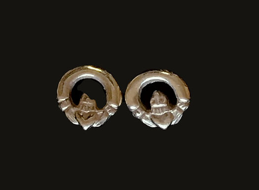 Dainty 14K Gold Claddagh Stud Earrings