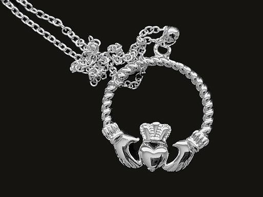 Platinum Plated Claddagh Pendant