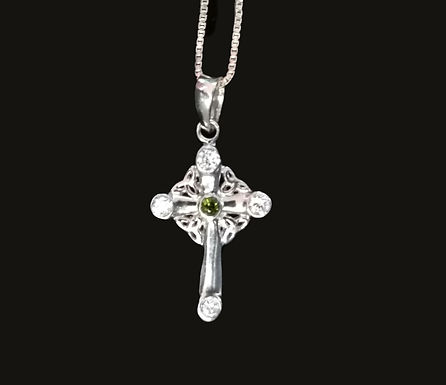 Celtic Cross with Clear and Green Crystals