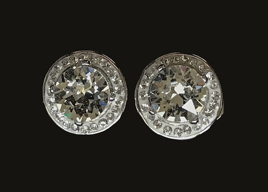 Silver Round Halo Stud Earrings Encrusted With Swarovski Crystals