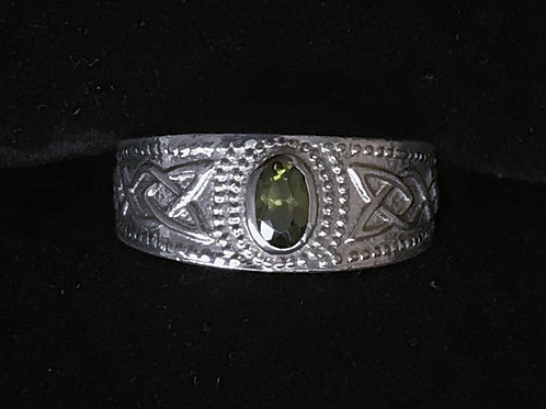 Trinity Knot Ring with Green Center
