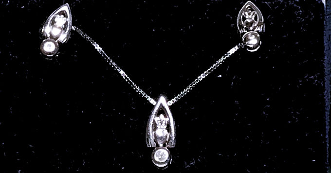 Sterling Silver Claddagh Pendant and Earrings Set