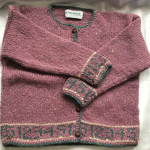 Crana Handknit Children's Sweater Trimmed with Numbers-Pink and Gray