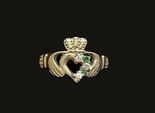 10K Gold Claddagh Ring with Green and Clear Stones