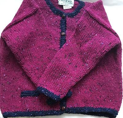 Crana Handknit Children's Sweater - Pink and Blue