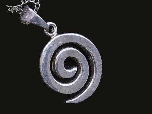 Silver Celtic Spiral Pendant Necklack