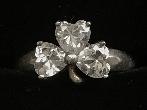 Sterling Silver Shamrock Ring with  Cubic Zirconia