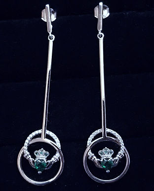Silver Claddagh Drop Earrings with Clear and Green Cubic Zirconia