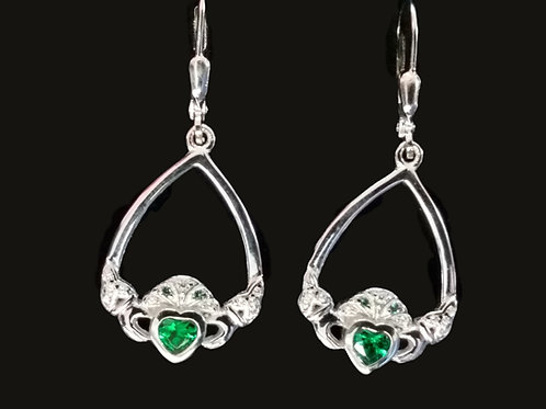 Sterling Silver and Green Crystal Claddagh Earrings