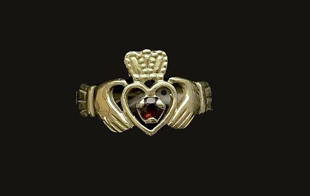 10K Gold July Birthstone Open Heart Claddagh Ring