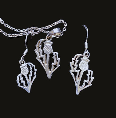 Scottish Thistle Earrings and Pendant