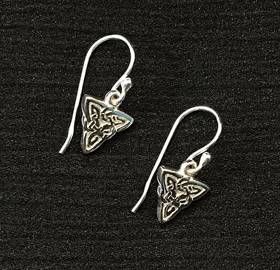 Triangular Knotwork Drop Earring - Small - Sterling Silver