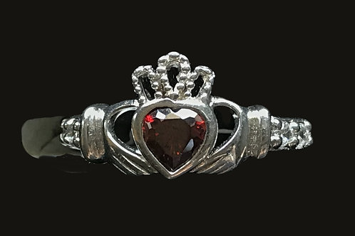 Claddagh Birthstone Ring with Open Crown