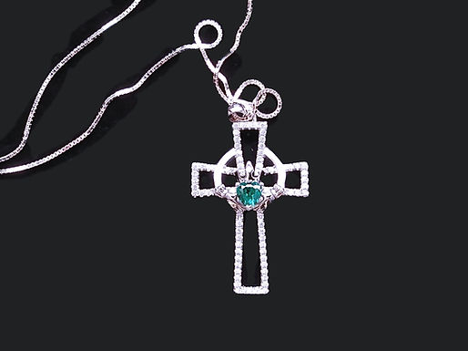 Sterling Silver and Cubic Zirconia Celtic Cross and Claddagh Pendant