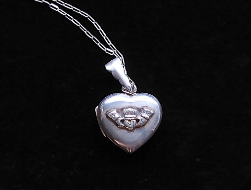 Sterling Silver Claddagh Heart Shaped Locket