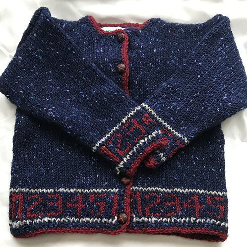 Crana Handknit Children's Sweater Trimmed with Numbers- Dark Blue and Red