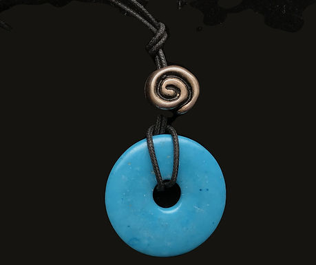 Blue Pendant with Celtic Circle Leather