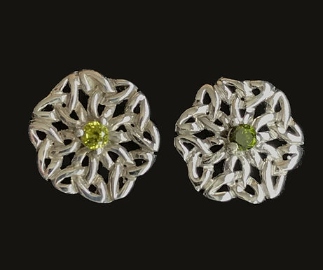 Trinity Knot Stud Earrings with Green Cubic Zirconia