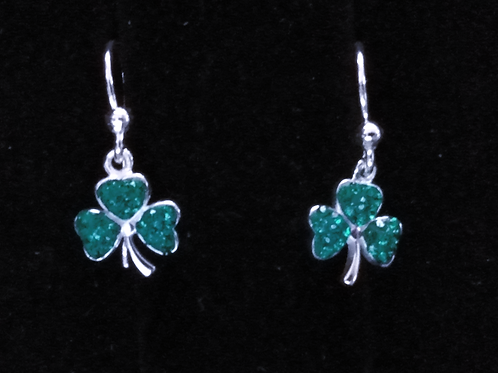 Shamrock Earrings with Green Chrystals