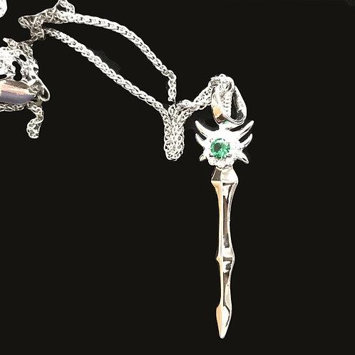 Nuada Silver Sword Pendant  with Cubic Zirconia Green