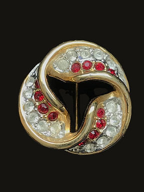 Circle Pin with Red and Clear Crystals