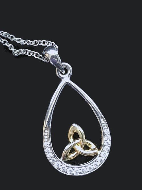 Sterling Silver Yellow Gold Plated Trinity Knot Swarovski Pendant