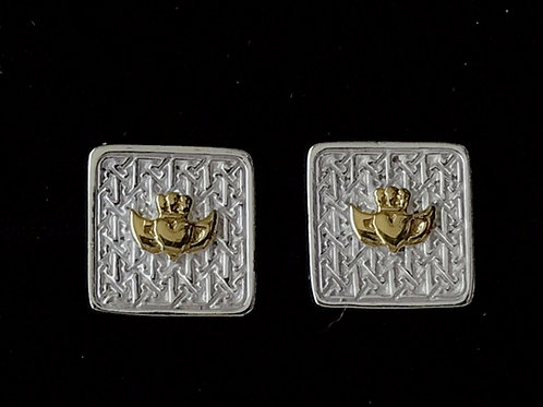 Silver and Gold Claddagh Earrings Sterling Silver Dublin TJH