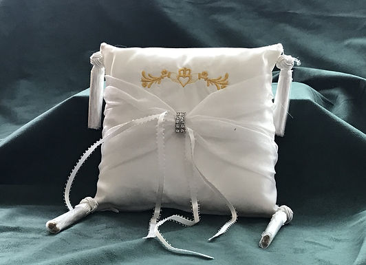 Ring Bearer Pillow with Embordered Claddagh Ring