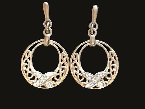 14K Gold with Diamonds Celtic Earrings