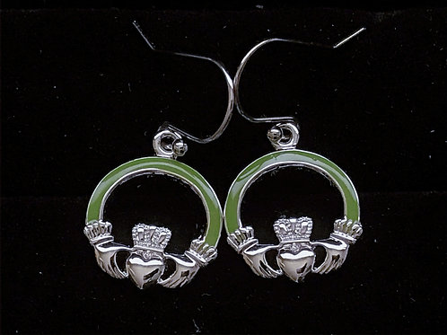 Platinum Plated Claddagh Earrings with Green Arms