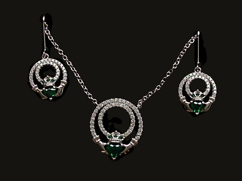 Claddagh Pendant and Earrings Set with Green and Clear CZS