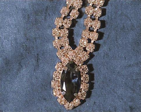 Newbridge Silverware Rhinestone Necklace with Sapphire Stone.