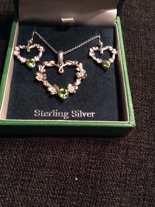 Peridot Heart Earrings and Necklace