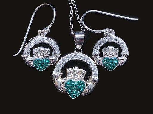 Claddagh Earrings and Necklace with Green and Clear Cubic Zirconia