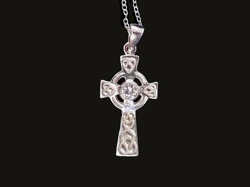 Sterling Silver Celtic Cross with Swarovski Crystal Birthstone