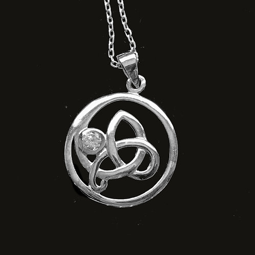 Trinity Knot Pendant with a Clear Cubic Zirconia sterling silver by TJH