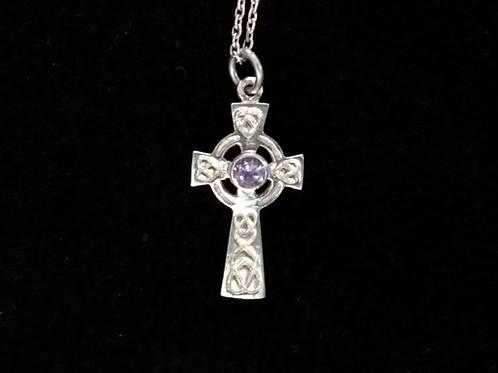 Celtic Cross with Purple Chrystal