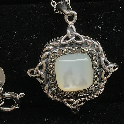 Marcasite and Mother of Pearl Trinity Knot Pendant