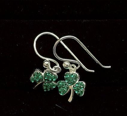 Sterling Silver and Cubic Zirconia Shamrock Droop Earrings